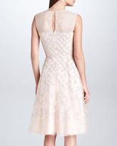 Oscar de la Renta Lattice-Beaded Organza Illusion Dress, Ivory