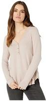 Three Dots Brush Sweater Henley (Blush) Women's Clothing