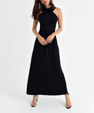 Milan Kiss Women's Maxi Dresses BLACK - Black Crisscross Tie-Waist Sleeveless Fit & Flare Dress - Women