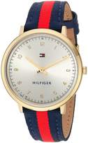 Tommy Hilfiger Women's 'SPORT' Quartz Gold-Tone and Nylon Casual Watch, Color:Red (Model: 1781766)