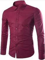 CFD Men's Buttoned Solid-Colored Slim Fit Long Sleeve Dress Shirts L