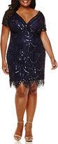 BLUE SAGE Blu Sage Short-Sleeve Allover Beaded Sheath Dress - Plus
