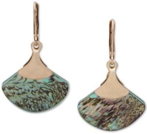 lonna & lilly Gold-Tone Abalone Fan Drop Earrings