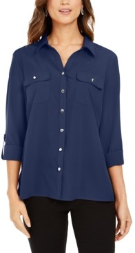 NY Collection Split-Neck Roll-Tab Blouse