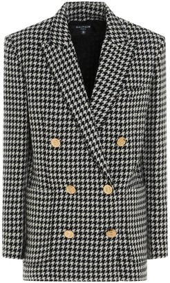 Balmain Double-Breasted Houndstooth Blazer