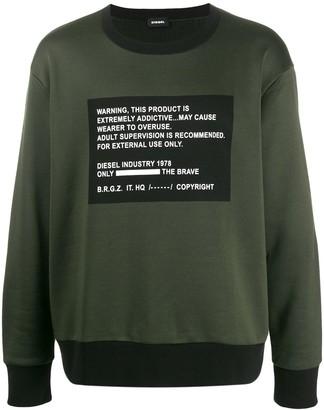 Diesel Warning patch sweatshirt