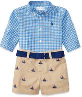 Ralph Lauren Blue & Navy Poplin Button-Up & Khaki Shorts Set - Infant