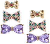 Betsey Johnson Gold-Tone 3-Pc. Set Stone and Crystal Bow Stud Earrings