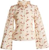 Luisa Beccaria Floral-embroidered ruffled-neck tulle blouse