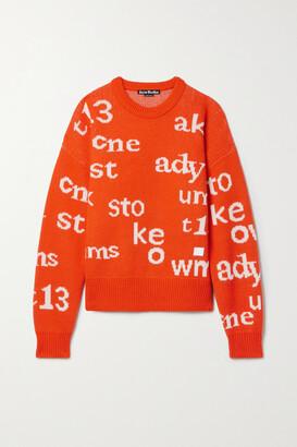 Acne Studios - Appliqued Intarsia Wool Sweater - Orange