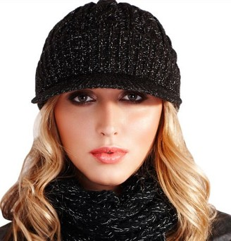 Dannii Matthews Quality Ladies Girls Fashion Acrylic/Metallic Cable Knit Hat with Peak Winter Warm Cosy