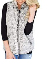 AOJIAN Womens Winter Warm Vest Casual Faux Fur Zip Up Sherpa Jacket Outwear