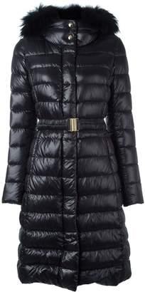 Herno fur hood belted padded coat