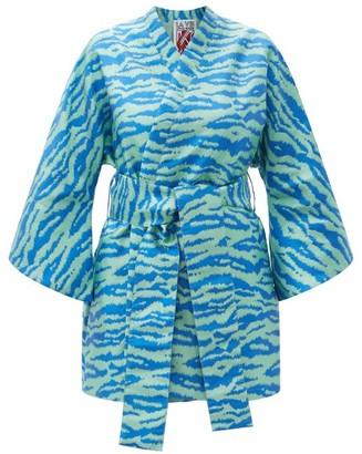 La Vie Style House - No. 509 Zebra-jacquard Coverup - Blue Multi