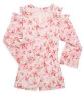 Ella Moss Girls Cold-Shoulder Floral Chiffon Romper