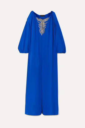 Dundas Embroidered Silk-georgette Kaftan - Cobalt blue