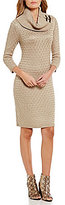 Calvin Klein Cowl Neck Buckle Trim Sweater Knit Dress