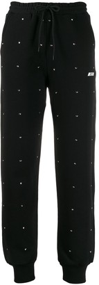 MSGM Crystal Heart Embellished Drawstring Track Pants