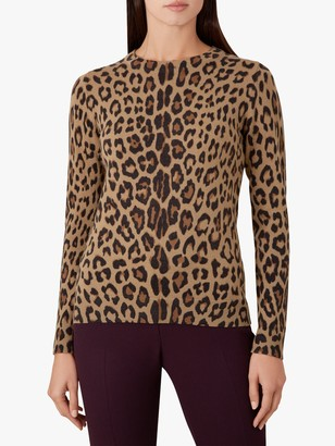 Hobbs Hazel Animal Print Jumper, Camel/Multi