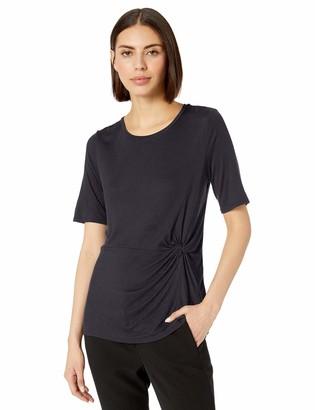 Lark & Ro Amazon Brand Women's Crew Neck Side Knot Detail Short Sleeve Knit Top