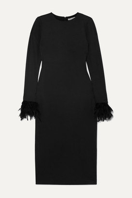Alice + Olivia Debora Feather-trimmed Stretch-crepe Dress - Black