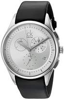 Calvin Klein Men's 'Basic' Swiss Quartz Stainless Steel and Leather Watch, Color:Black (Model: K2A27138)
