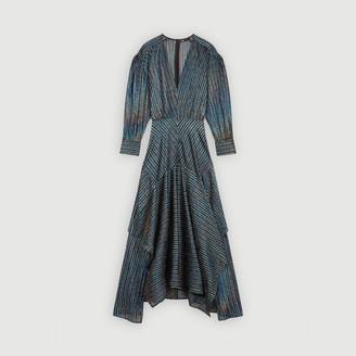 Maje Striped Lurex scarf dress
