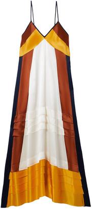 Tory Burch Sasha Color-block Silk-satin Midi Slip Dress