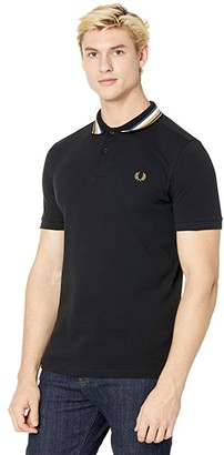 Fred Perry Striped Collar Polo Shirt (Black) Men's Clothing