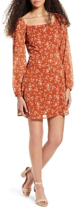 One Clothing Floral Print Long Sleeve Minidress