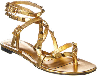 Valentino Rockstud Flair Metallic Leather Ankle Strap Sandal