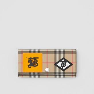 Burberry Logo Graphic Vintage Check E-canvas Continental Wallet