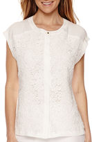 Liz Claiborne Cap-Sleeve Lace Button-Front Blouse
