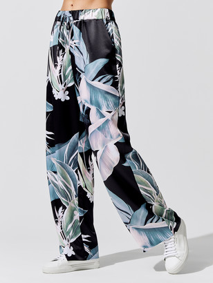 Carbon38 Silky Drawstring Wide Leg Printed Pant