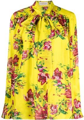 Alexandre Vauthier Floral Print Silk Blouse