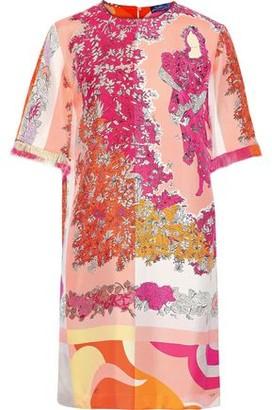 Emilio Pucci Fringe-trimmed Floral-print Silk-twill Mini Dress