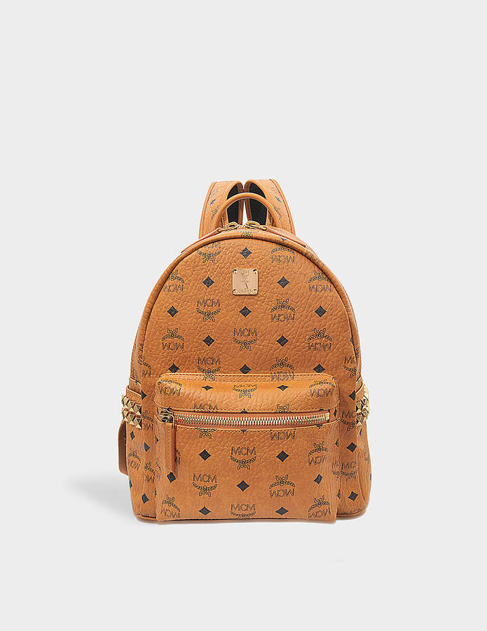 MCM Stark Side Studs Small Backpack in Cognac Visetos
