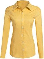 POGT Women's Roll up Long Sleeve Oxford Shirt Blouse Button Down Shirt Yellow (M, )