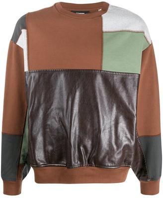 GR-Uniforma Faux Leather Panel Jumper