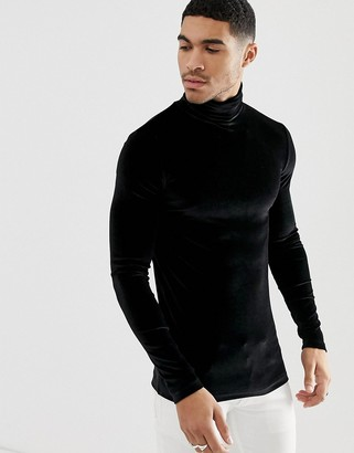 Asos Design DESIGN muscle long sleeve t-shirt with stretch in velour with roll neck in black