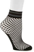Steve Madden Lurex Stripe Fishnet Ankle Socks - Women's