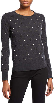 Neiman Marcus Pearl Embellished Long-Sleeve Crewneck Sweater