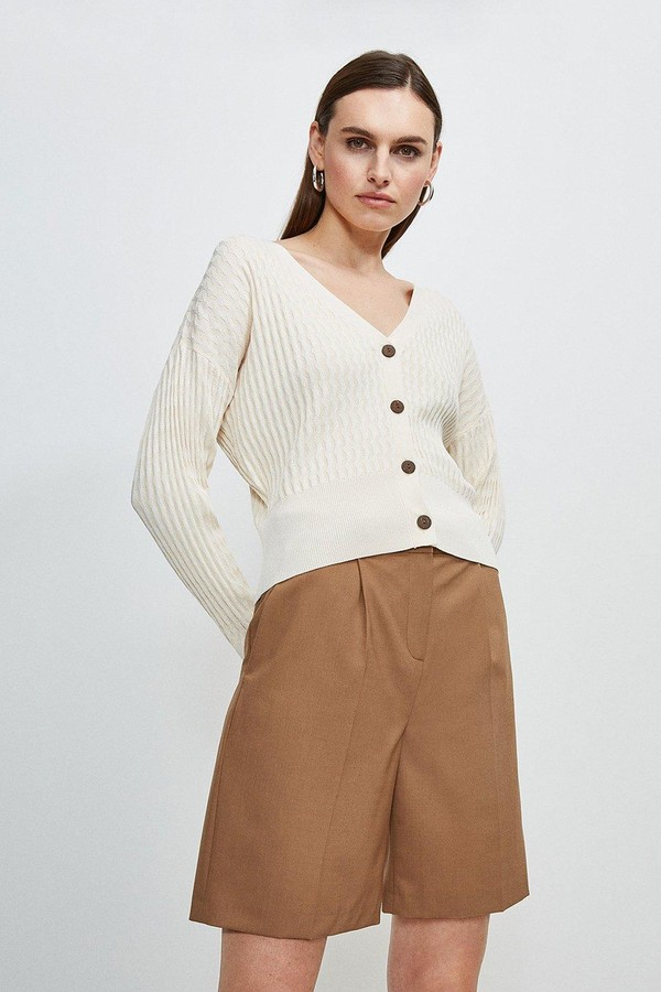 Karen Millen Tipped Racked Rib Knit Cardigan