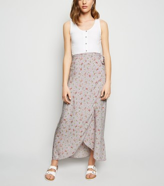 New Look Ditsy Floral Wrap Midaxi Skirt