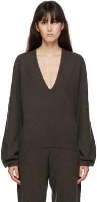 Frenckenberger Green Cashmere Mini Deep V-Neck Sweater