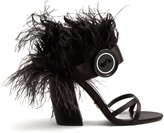 Prada Feather-trimmed satin sandals