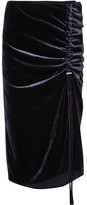 Cédric Charlier Gathered Velvet Midi Skirt - Midnight blue