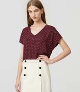 LOFT Petite Dotted Mixed Media Top