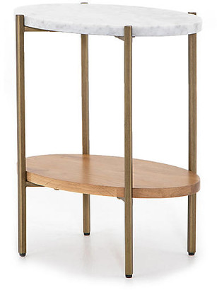 One Kings Lane Sofia Marble Side Table - Golden Brass/Natural