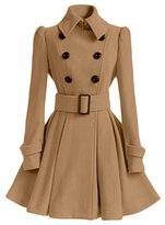 EkarLam® Vogue Woolen Blend Double-breasted Belt Tunic A-line Outwear Coat